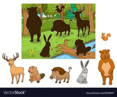 Forest cartoon animals with shadows Royalty Free Vector Emotions Preschool, Preschool Art, Preschool Worksheets, Toddler Learning Activities, Montessori Activities, Infant Activities, Animals Name With Picture, Forest Cartoon, Quiet Book Templates