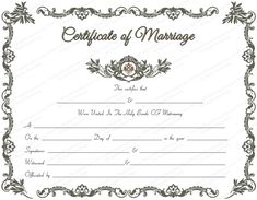 free printable marriage certificate  Printables - Certificate of Marriage template free download ...