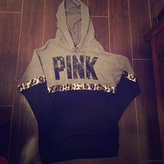 PINK Oversized Sequin Cheetah Ltd Ed Hoodie Only worn once PINK Victoria's Secret Sweaters