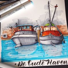 De Oude Haven in Rotterdam with Urban Sketchers Rotterdam. Another great sunday with very nice people:) #usk #uskrotterdam #urbansketchersrotterdam #rotterdam #deoudehaven #urbansketchersnederland #urbansketchers #dalerrowney #sketchbookart #boats #harbor #sketchoftheday