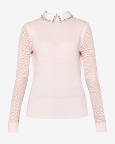 Embellished collar silk-blend sweater - Pink | Sweaters | Ted Baker