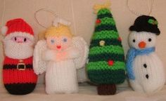 Free Christmas Knitting Patterns - Santa, Angel, Snowman and Tree : christmas knitting patterns free Knitted Christmas Decorations, Knit Christmas Ornaments, Christmas Toys, Christmas Angels, Frugal Christmas, Christmas Ideas, Knitted Doll Patterns, Knitted Dolls, Knitting Patterns Free