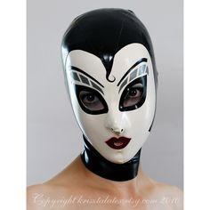 Latex Hood w Silver Make Up in Black and White - completely custom, ma...  krisztalatex  $175.00 USD