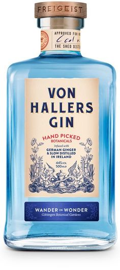 The botanicals used in the distillation of the Von Hallers Gin were sourced from the famous Von Haller's botanical gardens in Gottingen. Premium Gin, Whisky, Liquor Bottles, Vodka Bottle, Gin Tasting, Gin Brands, Gin Bar, Scotch Whiskey, Relaxer