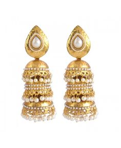 Scintillating Beads Pearl Polki Copper Jhumki Earring_White28