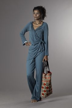 blue cotton jersey sweater and trousers wax and leather bag