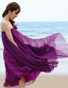 Purple Long Chiffon Maxi Dress