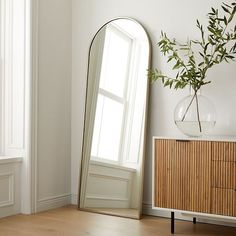 """Metal Frame 74"""" Arched Floor Mirror Oversized Floor Mirror, Leaning Floor Mirror, Arch Mirror, Entryway Mirror, Wood Framed Mirror, Wall Mirror, Modern Floor Mirrors, Reclaimed Wood Floors, Oversized Furniture"""