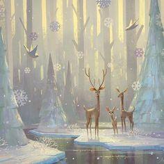 holiday illustration Christmas wonderland by naveen. Art Painting, Christmas Illustration, Holiday Illustrations, Illustration, Fantasy Art, Cute Art, Art, Forest Illustration, Winter Art