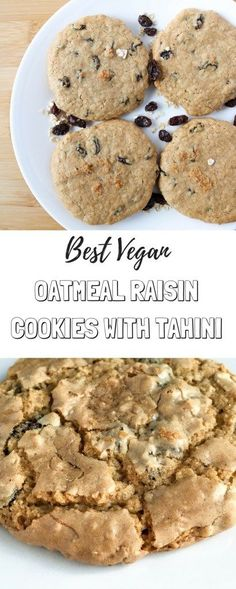 These best #vegan oatmeal raisin cookies are gluten free, made with tahini instead of oil and butter, naturally sweetened, nutrient dense and have the perfect cookie texture!