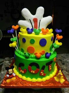 Mickey cake - I love the letters on this!