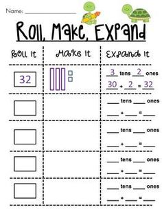 Place Value Roll it, Make it, Expand it Math Station - 4 different levels (this is medium)