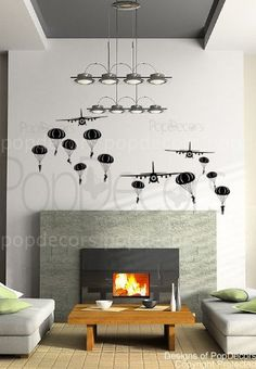 PopDecors - Paratrooper and Airplanes ( Black ) - Beautiful Tree Wall Decals for Kids Rooms Teen Girls Boys Wallpaper Murals Sticker Wall Stickers Nursery Decor Nursery Decals PT-0101-BLK >>> Check this awesome product by going to the link at the image. (This is an affiliate link) #NurseryDecor