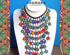 Mexican Huichol Beaded Flower Necklace and Earrings Set by Aramara Seed Bead Necklace, Flower Necklace, Seed Beads, Beaded Necklace, Necklace Set, Beaded Jewelry Designs, Boho Jewelry, Jewelry Sets, Jewelry Making