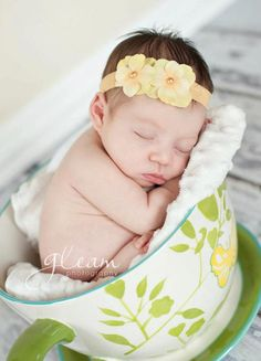 Yellow Pearl Hydrangea Flower Foldover Elastic Soft Newborn Toddler Infant HEADBAND. Elastic headband. Baby headband. photo prop. $5.99, via Etsy.