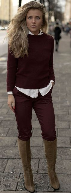 Molly Rustas Simply Burgundy And Brown Fall Street Style Inspo