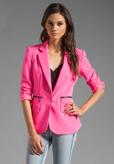 Nanette Lepore - Superstar Crepe Blazer in Shocking Pink