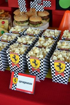 Black & White Check Ferrari Popcorn Boxes Go Kart Party, Race Car Party, Car Themed Parties, Cars Birthday Parties, Race Car Birthday, 18th Birthday Party, Ferrari Party, Festa Hot Wheels, Disney Cars Party