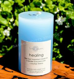 Healing - Gemstone Pillar Candle - pagan wiccan witchcraft magick ritual supplies