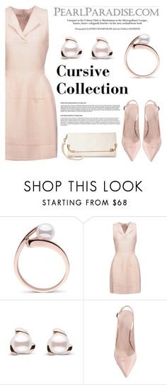 """Cursive Collection Akoya Pearl Ring"" by pearlparadise ❤ liked on Polyvore featuring Maje and MKF Collection"