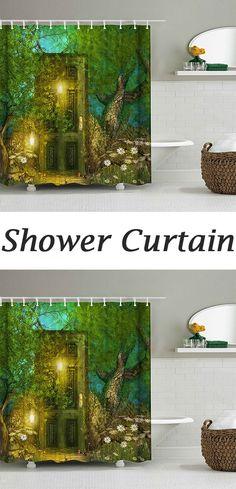 Retro Forest Door Waterproof Shower Curtain