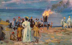 Laurits Tuxen - Midsummer Eve Bonfire on Skagen Beach