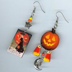 Halloween earrings Pumpkin vintage greeting card candy corn Celestial Jack o' lantern