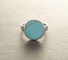 Kleiner Ring blau Türkis - massiv 925 Silber - komfortable Ring. Türkis runden - Tribal Schmuck - Schmuck ethnischer.