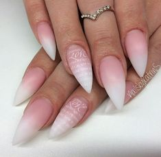 Stiletto white ombre nails