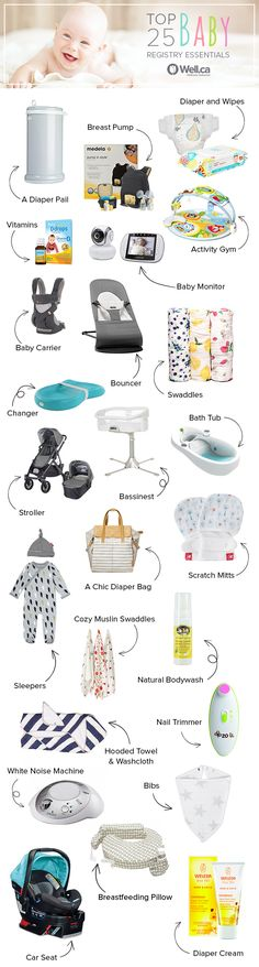 Our Top 25 Baby Registry Essentials all available at Well.ca! Baby Registry Essentials, Newborn Baby Essentials, Kid Essentials, Baby Checklist, Baby Shop, Everything Baby, Baby Boys, New Baby Products, Baby Gadgets