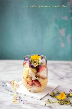 Strawberry Lemon Custard Trifle with edible flowers