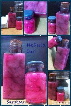 Nebula Jar : Cotton+Water+Color+Glitter+Jar.  Nebulosa na garrafa: Algodão+Água+Cor+Glitter+Garrafa.