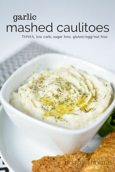 Garlic Mashed Caulitoes...this healthy side dish is THM:S, low carb, sugar free, and gluten/egg/nut free.