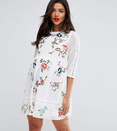 ASOS Maternity PREMIUM Midi Skater Dress with Floral Embroidery