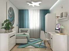 Designing the youth room white - with these ideas, the room becomes perfect! Designing a white youth room for girls & boys – ideas for color combinations & design Bedroom Furniture Makeover, White Bedroom Furniture, Grey Furniture, Turquoise Furniture, Colorful Furniture, Tapetes Vintage, Modern Bedroom Decor, White Rooms, Bedroom Carpet