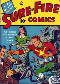 Sure-Fire Comics (Ace Magazines) - Comic Book Plus Horror Comics, Batman Comics, Fun Comics, Vintage Comic Books, Vintage Comics, Comic Books Art, Book Art, Comic Book Plus, Comic Book Covers