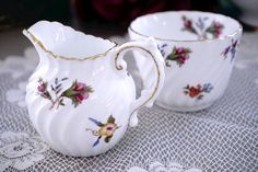 Vintage Aynsley Creamer and Sugar, Open Sugar Bowl & Creamer Set with Small…