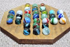 Vintage Wooden Solitaire Game Board & 33 Old Glass Marbles