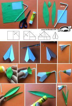 one variety of spring flower origami Flower Crafts Kids, Paper Crafts For Kids, Preschool Crafts, Diy For Kids, Diy And Crafts, Arts And Crafts, Spring Projects, Spring Crafts, Childrens Workshop