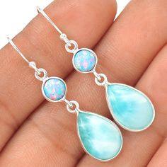Larimar - Dominican Republic 925 Silver Earrings Jewelry EE2175 | eBay
