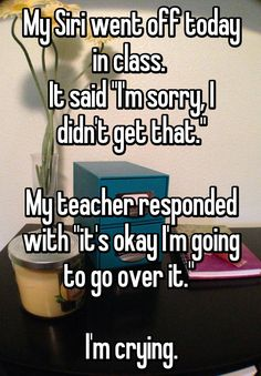 Stupid funny - My Siri went off today in class It said I'm sorry, I didn't get that My teacher responded with it's okay I'm going to go over it I'm crying funnythings Funny Shit, Really Funny Memes, Stupid Funny Memes, Funny Relatable Memes, Haha Funny, Funny Cute, Funny Posts, Funny Stuff, Funny Things