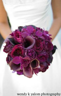 bridesmaid bouquets: wine and deep plum color flowers in a very tight/round arrangement
