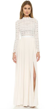 Self Portrait Pleated Crochet Maxi Dress
