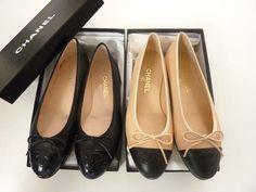 Chanel black flats and patent beige flats