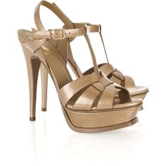 Yves Saint Laurent Tribute patent-leather sandals ($915) ❤ liked on Polyvore