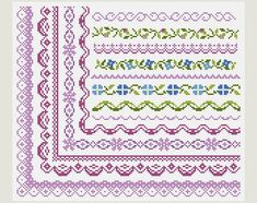 Cross Stitch patterns- Cross Stitch border- Cross Stitch edge- Counted cross stitch- Embroidery Borders- PDF- Instant download