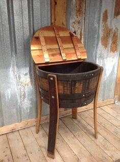 Beverage Cooler made from wine or whiskey barrels. by KingBarrel Table Baril, Wine Barrel Crafts, Barris, Wine Barrel Furniture, Barrel Projects, Barrel Table, In Vino Veritas, Diy Furniture, Automotive Furniture