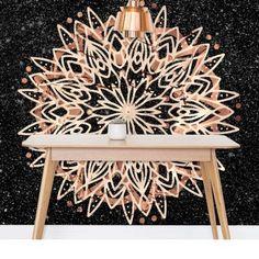 Metallic Mandala Wallpaper by Bee-Bee Deigner (beebeedeigner) from per m² Black Marble Background, Bee Bee, Cool Art, Mandala, Metallic, It Is Finished, Ceiling Lights, Texture, Wallpaper