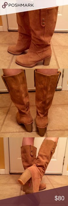 Authentic Ugg Boots!!!! Gorgeous authentic Ugg boots! Chestnut color size 8.5! Small heel but is a wide heel with much support so these shoes are super comfortable!! Suede lining and can be worn as photographed or rolled down and worn as booties! Excellent condition, worn 3 times! UGG Shoes Heeled Boots