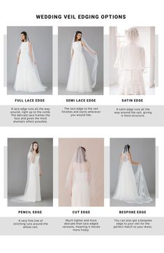 WEDDING VEIL EDGING OPTIONS | ROCK MY WEDDING | WEDDING VEIL | WEDDING ACCESSORIES | BRIDAL VEIL | BRIDE VEIL | VEIL FOR BRIDE | LACE VEIL | CATHEDRAL VEIL | TIERED VEIL | BRIDE DRESS | TWO TIER VEIL | DROP VEIL | FLOOR LENGTH VEIL | SHORT VEIL | LACE EDGE VEIL | SATIN EDGE VEIL Bridal Hair Accessories, Bridal Jewelry, Types Of Veils, Wedding Veils, Wedding Dresses, Veil Length, Indian Bridal, One Shoulder Wedding Dress, Tulle